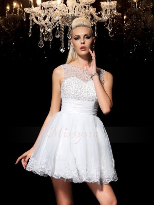 A-Line/Princess Sleeveless Sheer Neck Short White Dresses