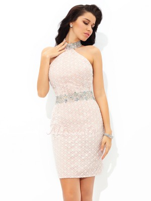 Sheath/Column Sleeveless Halter Short Champagne Dresses