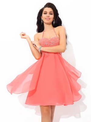 A-Line/Princess Sleeveless Halter Short Watermelon Dresses