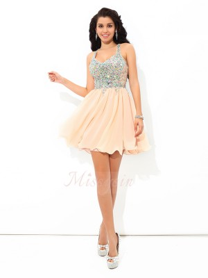 A-Line/Princess Sleeveless Straps Short Pink Dresses