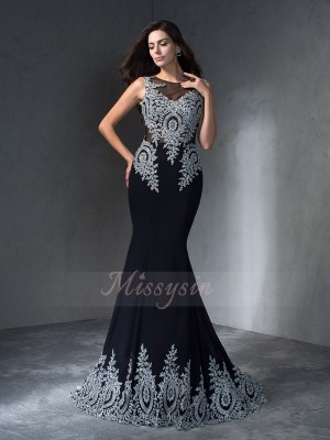 Trumpet/Mermaid Sleeveless Scoop Sweep/Brush Train Black Dresses