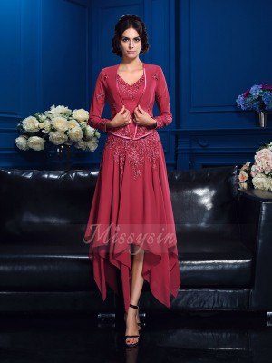A-Line/Princess Sleeveless V-neck Asymmetrical Red Mother of the Bride Dresses