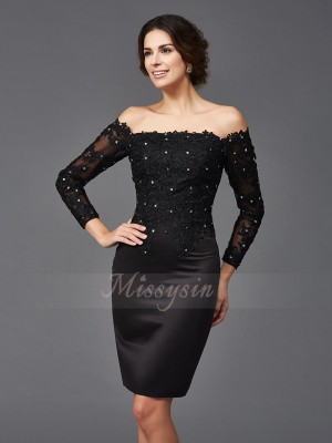 Sheath/Column Long Sleeves Off-the-Shoulder Short Black Mother of the Bride Dresses