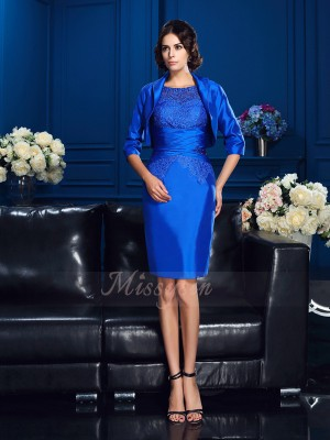 Sheath/Column Short Sleeves Scoop Short Royal Blue Mother of the Bride Dresses