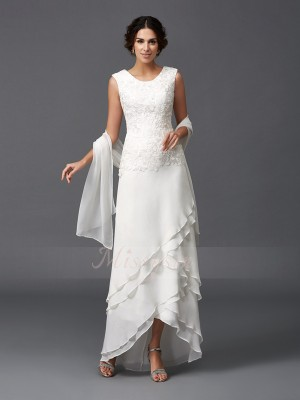 A-Line/Princess Sleeveless Scoop Ankle-Length Ivory Mother of the Bride Dresses