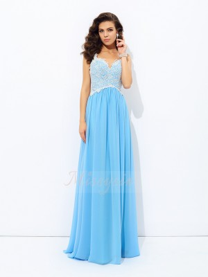 A-Line/Princess Sleeveless V-neck Long Light Sky Blue Dresses
