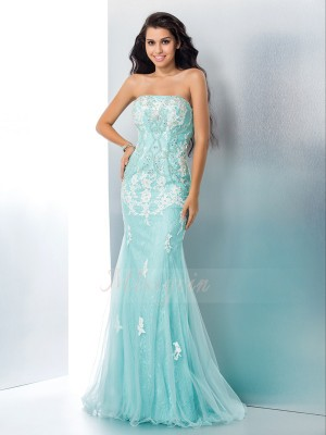 Trumpet/Mermaid Sleeveless Strapless Long Light Sky Blue Dresses