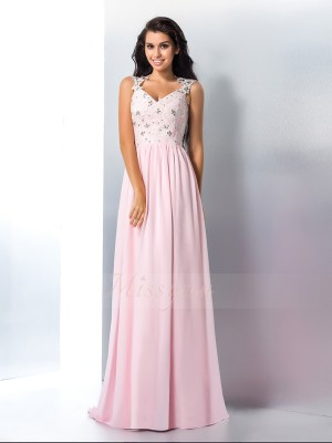 A-Line/Princess Sleeveless V-neck Sweep/Brush Train Pink Dresses