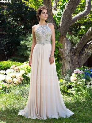 A-Line/Princess Sleeveless Spaghetti Straps Sweep/Brush Train Champagne Dresses