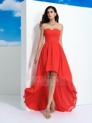 A-Line/Princess Sleeveless Sweetheart Asymmetrical Watermelon dresses