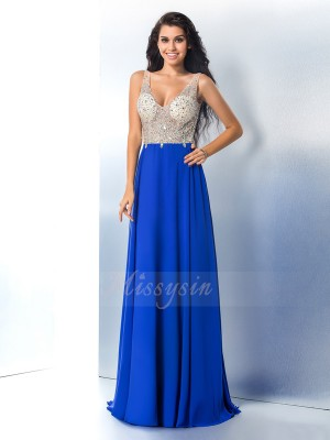 A-Line/Princess Sleeveless Straps Sweep/Brush Train Royal Blue Dresses