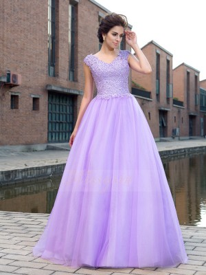 Ball Gown Short Sleeves V-neck Long Lavender Dresses