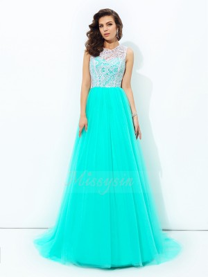A-line/Princess Sleeveless Scoop Sweep/Brush Train Blue Dresses