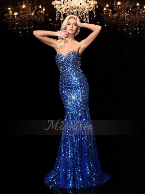 Trumpet/Mermaid Sleeveless Sweetheart Sweep/Brush Train Royal Blue Dresses