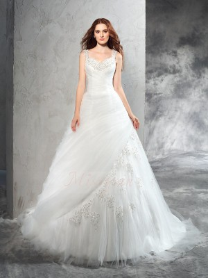 Ball Gown Sleeveless Straps Court Train Ivory Wedding Dresses