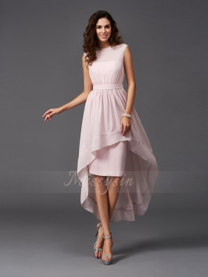 A-Line/Princess Sleeveless Scoop Asymmetrical Pearl Pink Bridesmaid Dresses