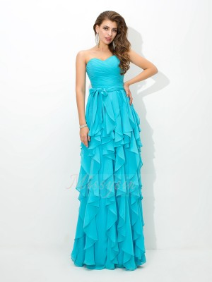 A-Line/Princess Sleeveless Sweetheart Long Blue Bridesmaid Dresses