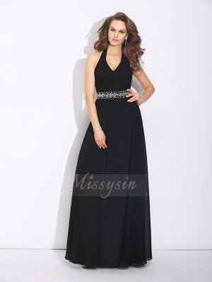 A-Line/Princess Sleeveless Halter Long Black Bridesmaid Dresses