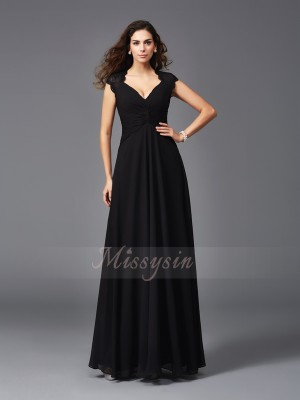 A-Line/Princess Sleeveless V-neck Long Black Bridesmaid dresses