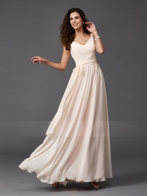 A-Line/Princess Sleeveless Straps Long Pearl Pink Bridesmaid Dresses