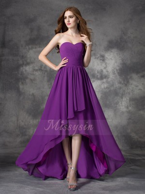 A-line/Princess Sleeveless Sweetheart Asymmetrical Grape Bridesmaid Dresses
