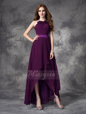 A-line/Princess Sleeveless Halter Asymmetrical Grape Bridesmaid Dresses