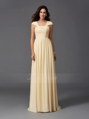 A-Line/Princess Sleeveless Straps Sweep/Brush Train Daffodil Bridesmaid Dresses