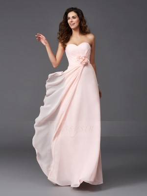 A-Line/Princess Sleeveless Sweetheart Long Pearl Pink Bridesmaid Dresses
