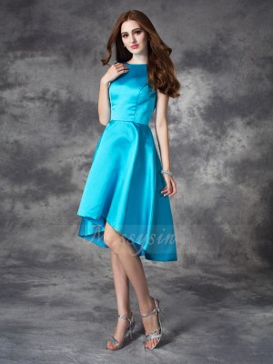 A-line/Princess Sleeveless Bateau Asymmetrical Blue Bridesmaid Dresses