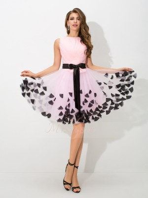 A-Line/Princess Sleeveless High Neck Short Pink Dresses