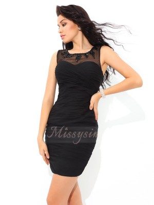 Sheath/Column Sleeveless Sheer Neck Short Black Dresses