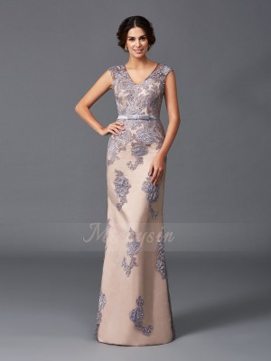 Sheath/Column Sleeveless Straps Long Champagne,Lavender Dresses