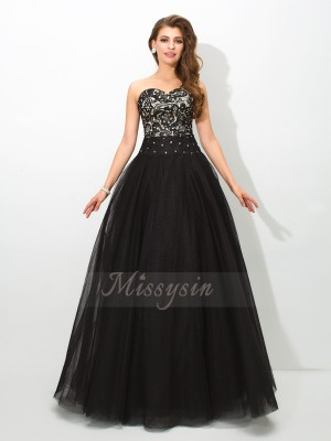 Ball Gown Sleeveless Sweetheart Long Black Dresses