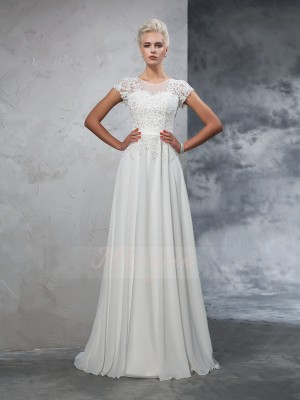 A-Line/Princess Short Sleeves Sheer Neck Sweep/Brush Train Ivory Wedding Dresses