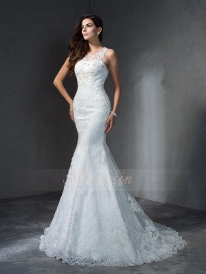Trumpet/Mermaid Sleeveless Scoop Court Train Ivory Wedding Dresses