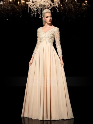 A-Line/Princess Long Sleeves V-neck Long Champagne Dresses