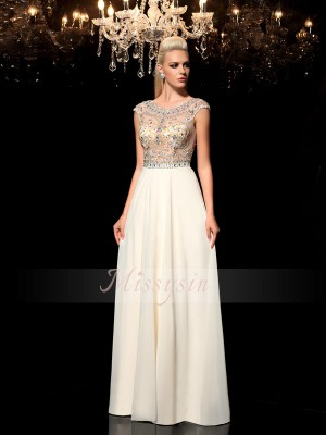 A-Line/Princess Sleeveless Long Champagne Evening Dresses
