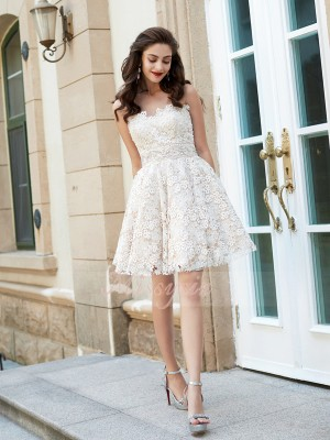 A-Line/Princess Sleeveless Short Ivory Homecoming Dresses