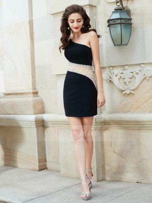 Sheath/Column Sleeveless Short Black Homecoming Dresses