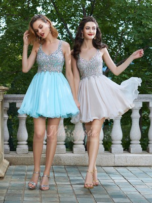 A-Line/Princess Sleeveless Short Champagne,Light Sky Blue Homecoming Dresses