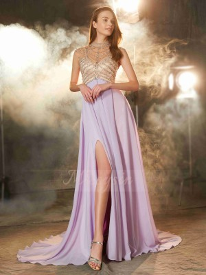 Sleeveless High Neck Sweep/Brush Train Lilac Prom Dresses