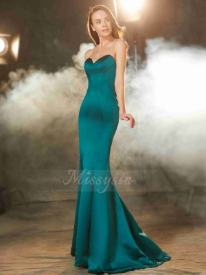 Sleeveless Sweetheart Sweep/Brush Train Dark Green Prom Dresses