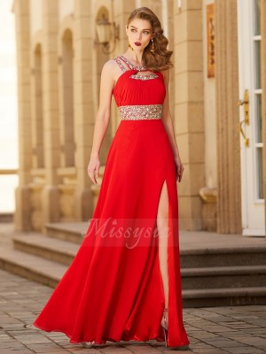 Sleeveless Scoop Long Red Prom Dresses