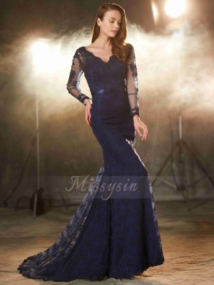 Sleeveless V-neck Sweep/Brush Train Dark Navy Prom Dresses