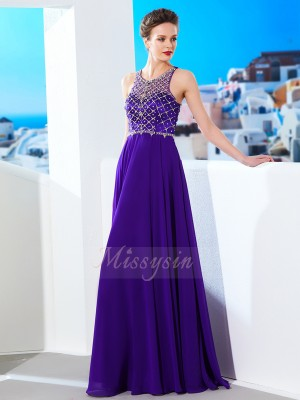 Sleeveless Scoop Long Regency Prom Dresses