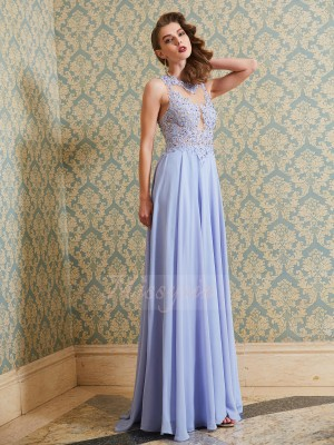 Sleeveless Scoop Long Blue Prom Dresses