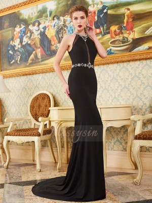 Sleeveless High Neck Sweep/Brush Train Black Prom Dresses