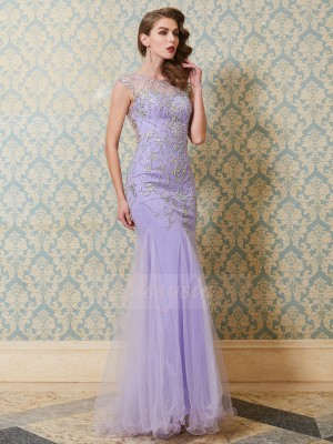 Sleeveless Scoop Long Lavender Prom Dresses