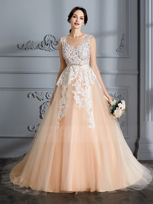 Ball Gown Scoop Sleeveless Court Train Champagne Wedding Dresses