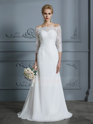 Trumpet/Mermaid Off-the-Shoulder 1/2 Sleeves Sweep/Brush Train Ivory Wedding Dresses
